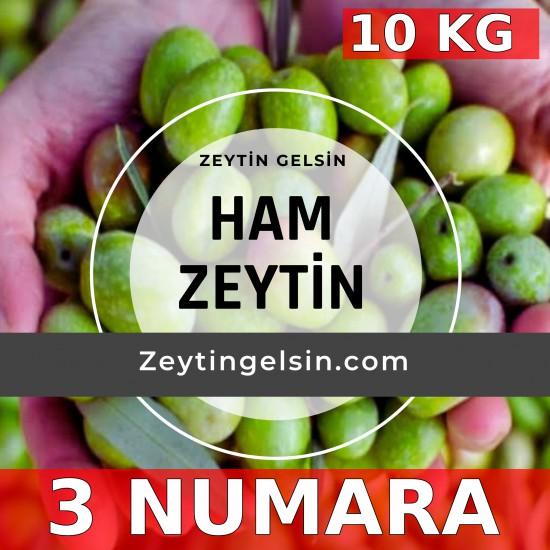 10 kg Ham Domat cinsi Yeşil Zeytin (Taze, Çiğ ) 3 NUMARA